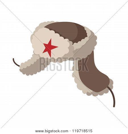 Russian fur hat earflaps icon, cartoon style
