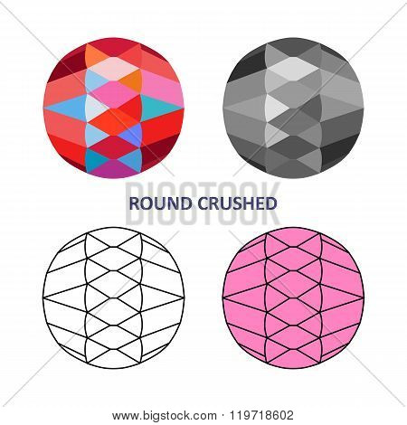Low Poly Colored & Black Outline Template Round Crushed Gem Cut