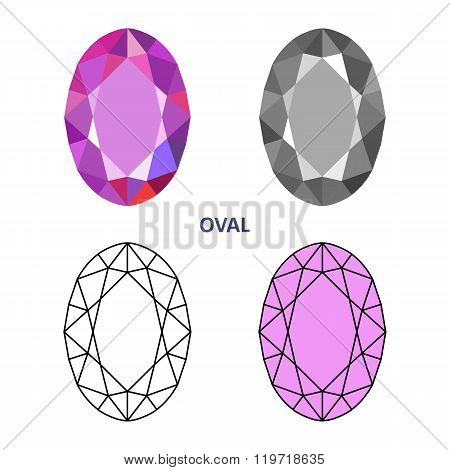 Low Poly Colored & Black Outline Template Oval Gem Cut