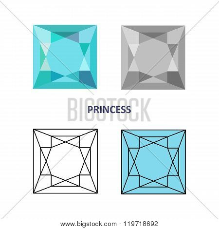 Low Poly Colored & Black Outline Template Princess Gem Cut