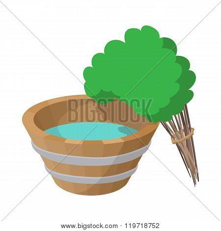 Russian bath tub and broom icon, cartoon style