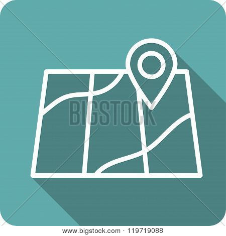 Concept of abstract street map with navigational elements and symbol.