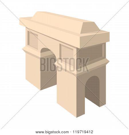 Triumphal arch icon, cartoon style