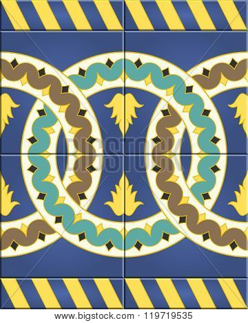 Arabic Tiles Seamless Pattern. Seville, Spain.