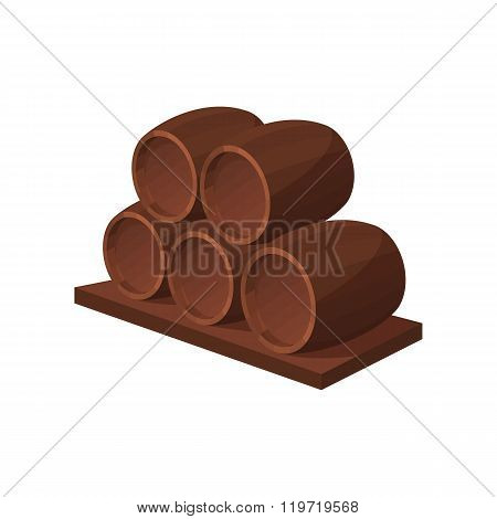 Barrels of wine icon, cartoon style