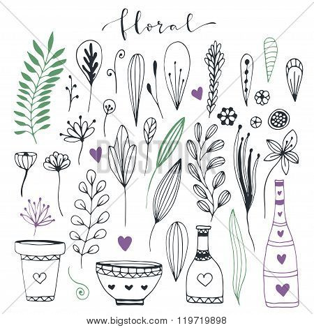 Handdrawn Floral Doodle Collection. Cute Decorative Elements For Design Invitation And Greeting Card