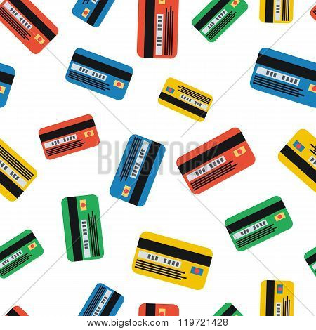 A lot of colourfull credit cards on white seamless pattern