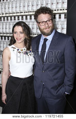 LOS ANGELES - FEB 25:  Lauren Miller, Seth Rogen at the 3rd Annual unite4:humanity at the Montage Hotel on February 25, 2016 in Beverly Hills, CA
