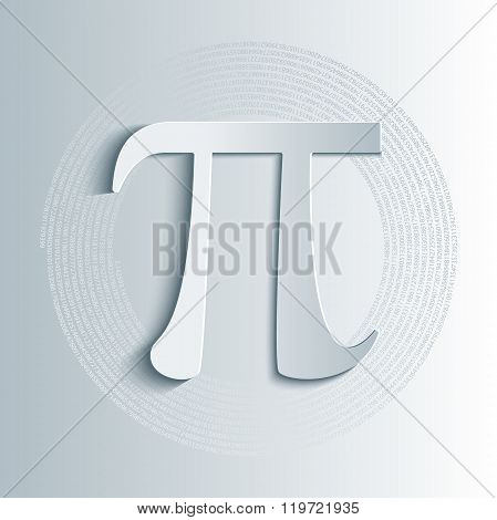 Pi symbol icon with numbers in circular pattern