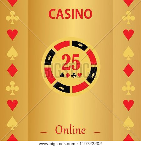 Casino  Design Elements Vector Icons. Casino Games.ace Playing Cards With Chips On  Background.set O