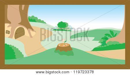 Village Country Cartoon Vector