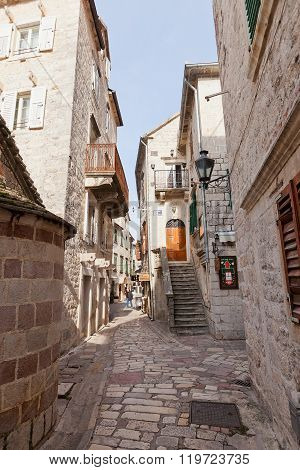 Streets Of Old Town Of Kotor, Montenegro