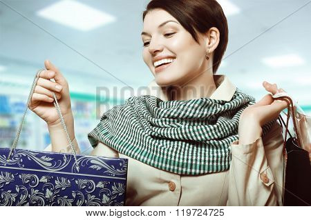 Girl With Shopping In Bags, Shopaholic