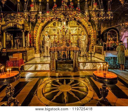 Altar of the Crucifixion in Holy Sepulchre Church