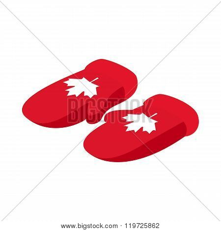 Mittens with a maple leaf icon, isometric 3d style