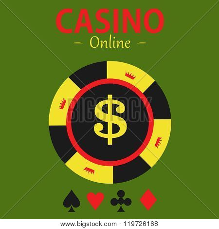 Casino  Design Elements Vector Icons. Casino Games.ace With Chips On  Background.set Of Gambling Chi