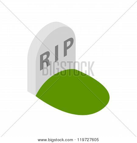 Tombstone with RIP icon, isometric 3d style