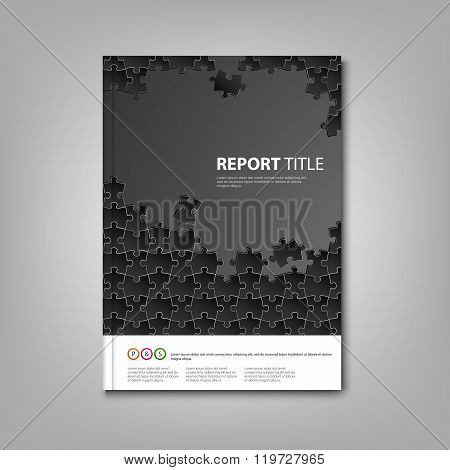 Brochures Book Or Flyer With Black Puzzle Template