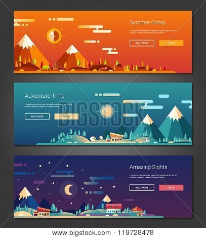 Flat design outdoors activity and tourism landscapes banners set