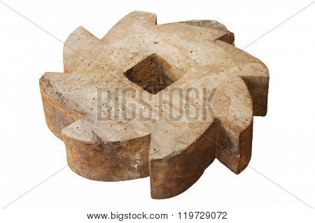 Ancient Wooden Serrated Wheel