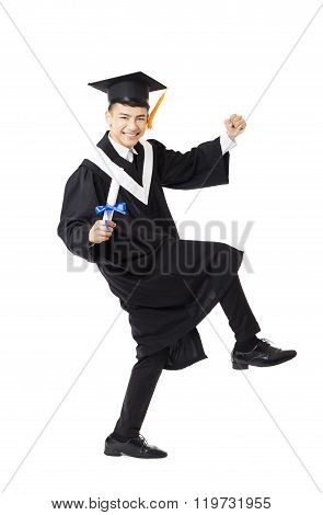 Happy Young Male College Graduation Dancing