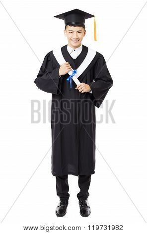 Full Length Of  Young Male College Graduation