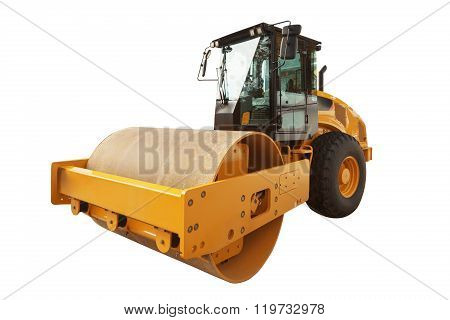 Yellow Road Roller Isolated Over A White Background With Clipping Path