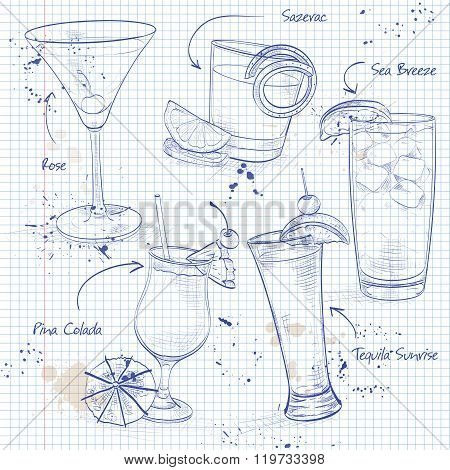 New Era Cocktail Set  on a notebook page