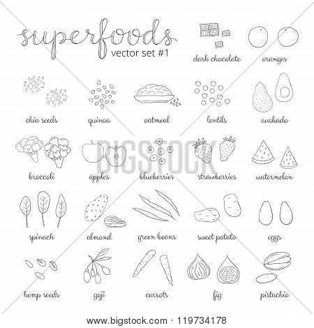 Hand drawn superfoods set 1.