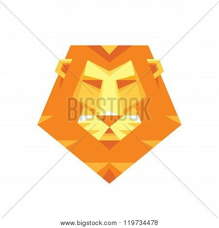 Lion head - vector sign concept illustration in flat style design. Lion head logo.