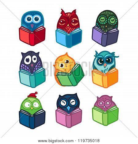 Owls hand drawn set