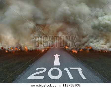 Natural Disaster With 2017 Sign On The Road
