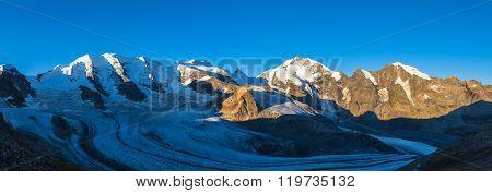 Panorama View Of Bernina Massiv In Morning Sunshine