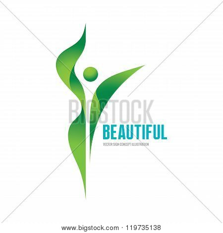 Beatiful - vector logo concept illustration. Health logo. Healthy logo. Beauty salon logo.