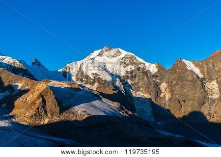 Piz Bernina In Morning Sunshine