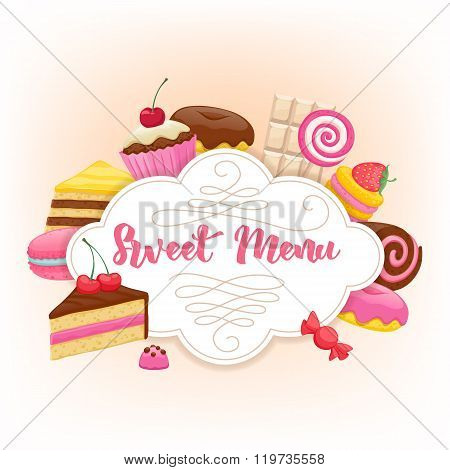 Assorted sweets colorful background. Sweet menu design.