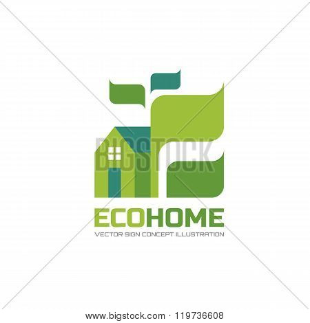 Eco home - vector logo concept illustration in flat style design. Ecology logo sign. Building logo.
