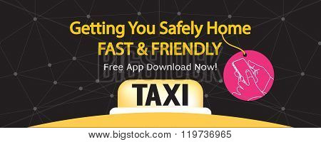 24 Hour Taxi Service 1500X600 Pixel Banner.