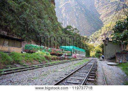 Garbage Train Ready To Travel Out Of Machu Picchu, Peru