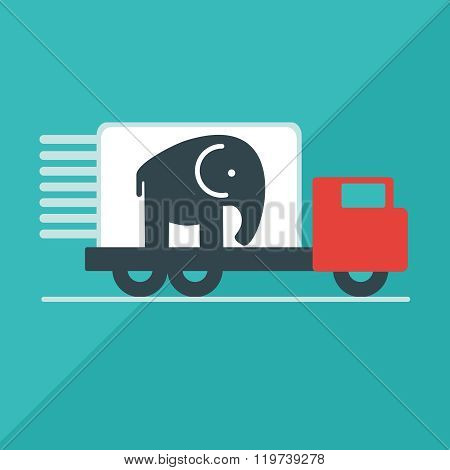 The truck delivers the elephant