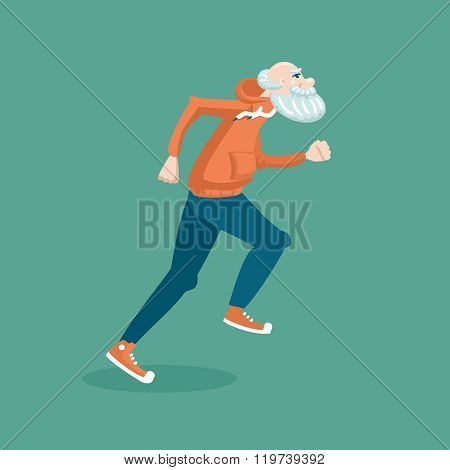 Old man running
