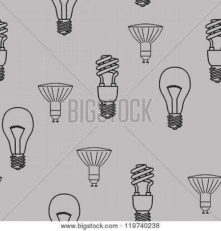 Energy saving light bulbs seamless pattern. Vector.