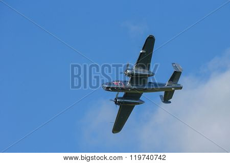 SPIELBERG, AUSTRIA - OCTOBER 26, 2014: B-25 Mitchell flys in a flight display during the Red Bull Air Race.