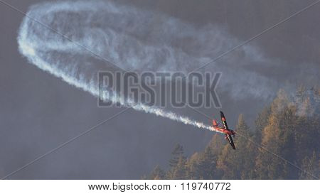 SPIELBERG, AUSTRIA - OCTOBER 25, 2014: Nicolas Ivanoff (France) competes in the Red Bull Air Race.