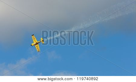 SPIELBERG, AUSTRIA - OCTOBER 26, 2014: Nigel Lamb (Great Britain) competes in the Red Bull Air Race.