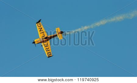 SPIELBERG, AUSTRIA - OCTOBER 25, 2014: Nigel Lamb (Great Britain) competes in the Red Bull Air Race.