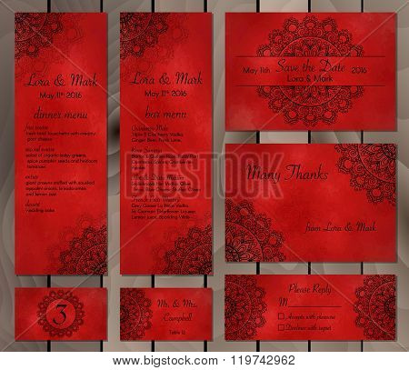 Collection Of Ethnic Cards,menu And Wedding Invitations With Indian Ornament.