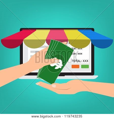 Hand Give Banknote Money For Shopping Online.vector Illustration Omnichannel Online Marketing