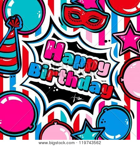 Birthday card with balloons, blast, carnival mask and hat. Vector.