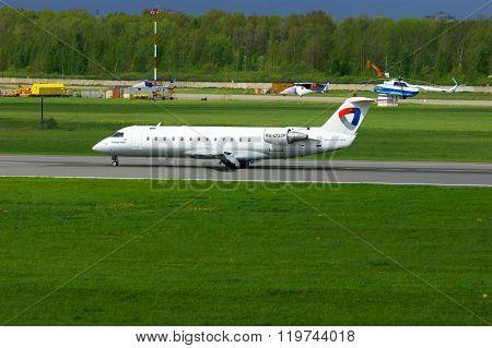 Severstal Air Company Bombardier Canadair Regional Jet Crj-200Lr Aircraft In Pulkovo Airport